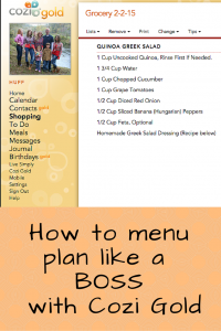 How to menu plan like a boss with Cozi