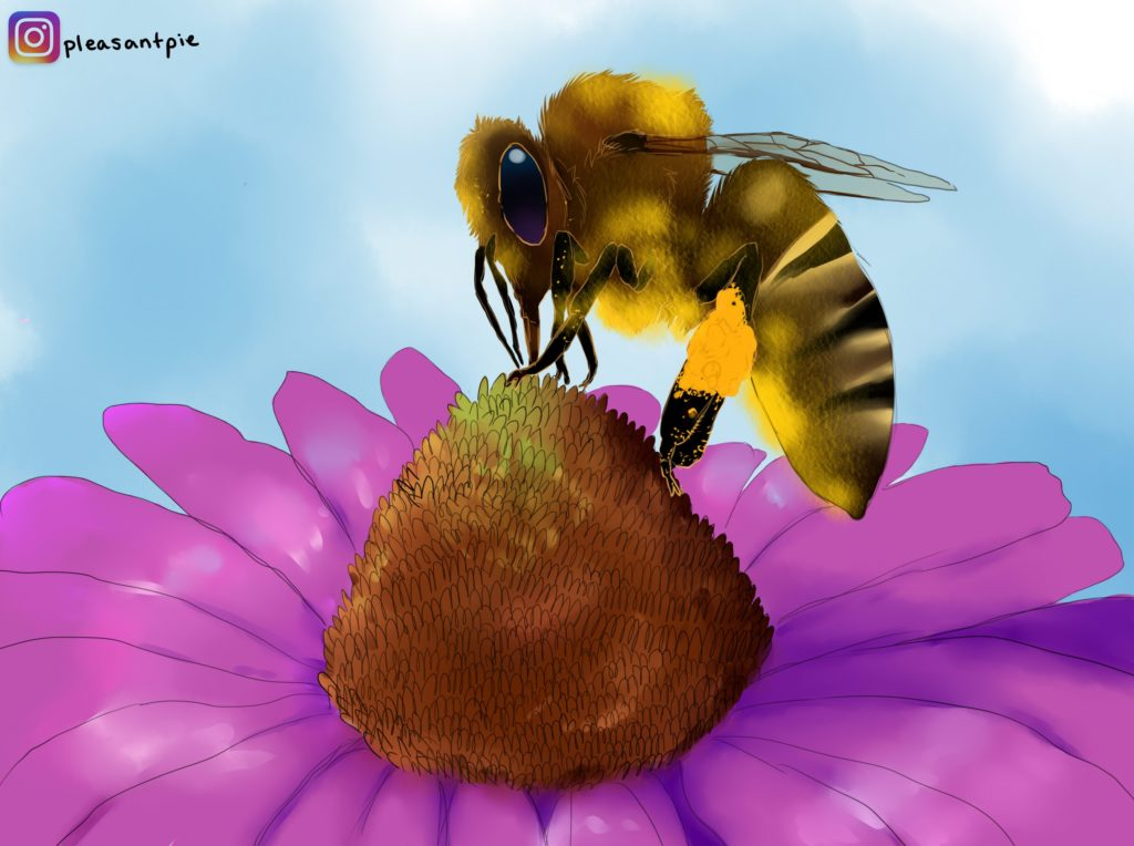 Bees collecting pollen ~ Art by Ivy aka PleasantPIe