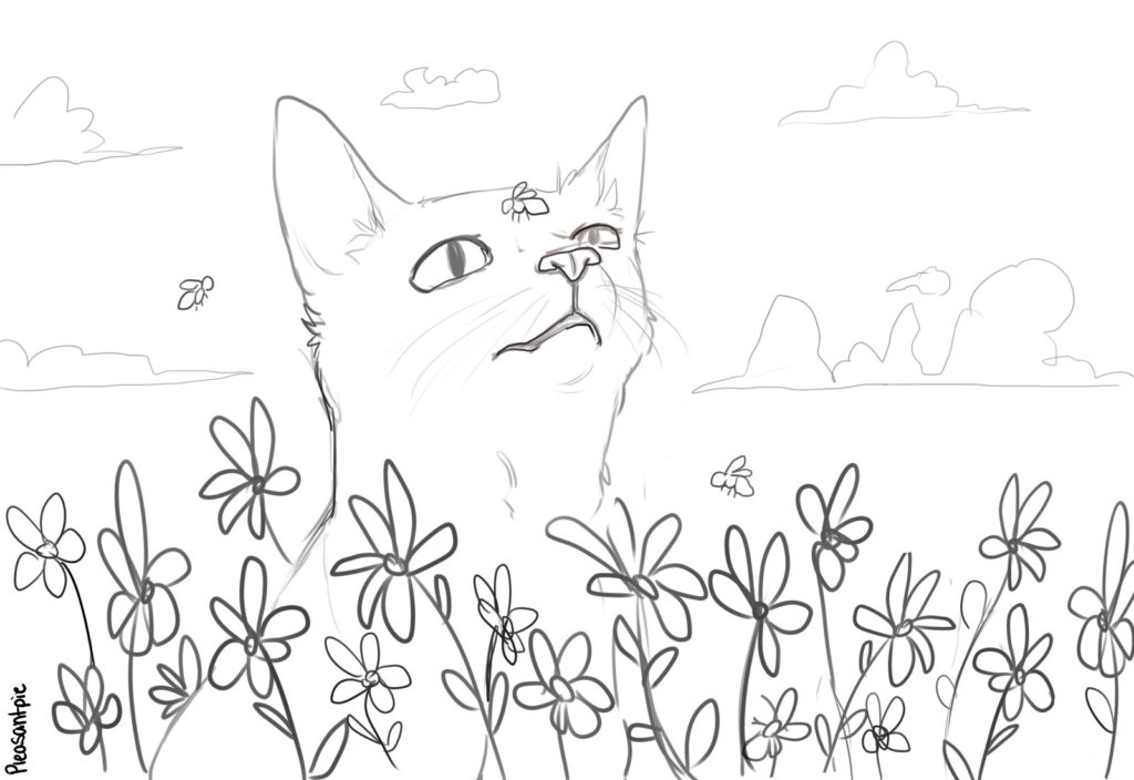 Bee on kitten's nose coloring page by Ivy aka PleasantPIe