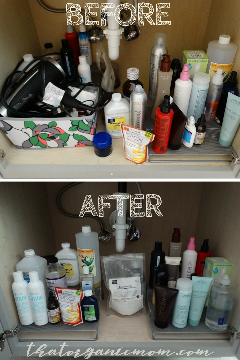 decluttering and tidying under the bathroom sink and entire bathroom!
