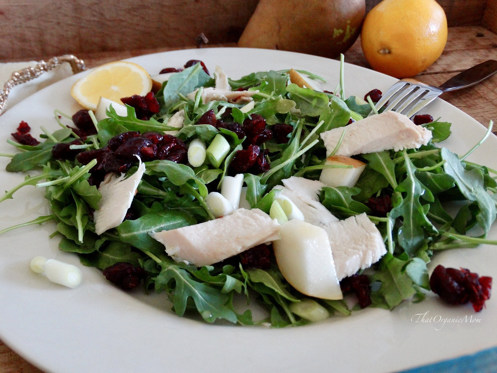 Chicken and Pear Arugula Salad with Meyer Lemon Vinaigrette