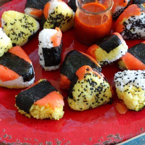 Smoked Salmon BBQ Onigiri - A fun party food 12