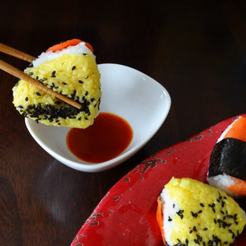 Smoked Salmon BBQ Onigiri - A fun party food 15