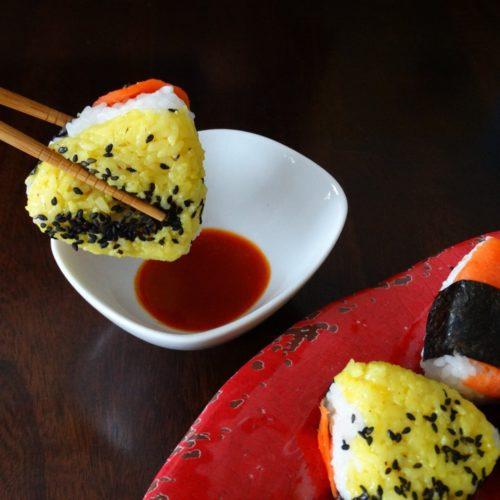 Smoked Salmon BBQ Onigiri - A fun party food 15