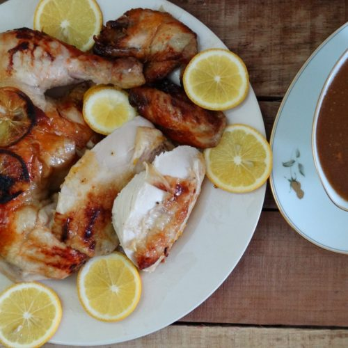 Honey and Meyer Lemon Pepper Roasted Chicken with Brown Gravy 1
