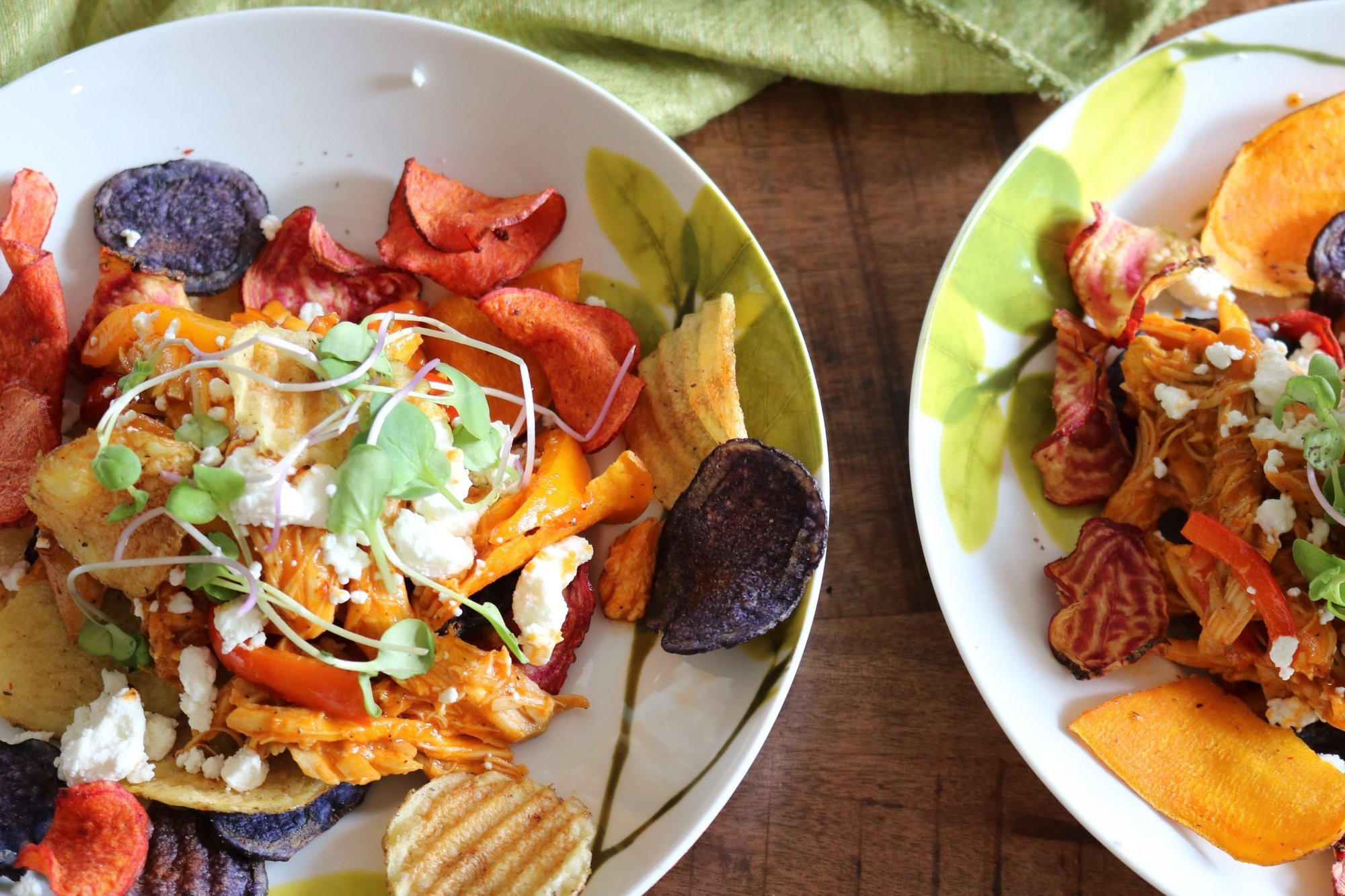 Easy BBQ Chicken Nachos with Root Vegetable Chips 2