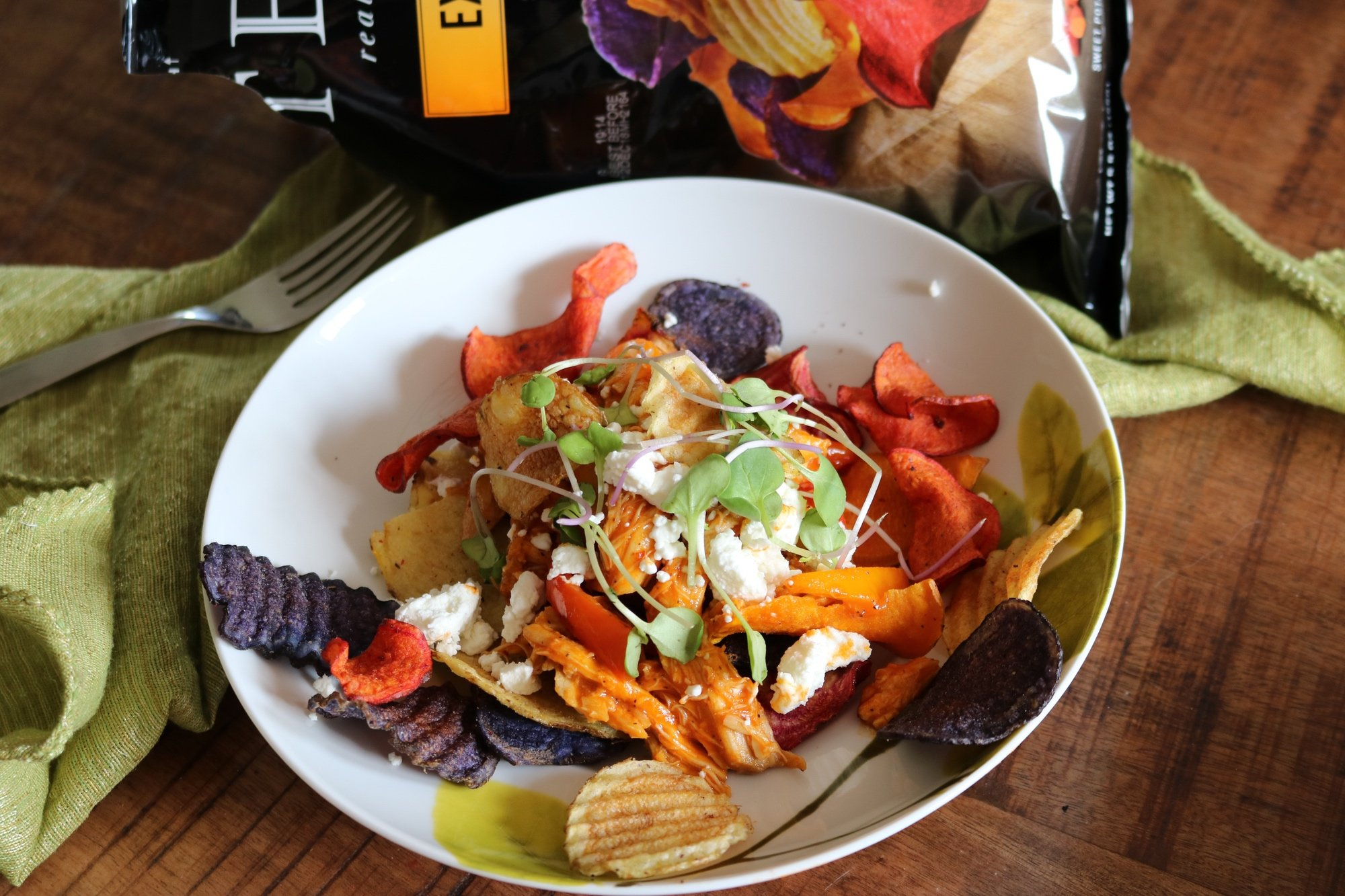Easy BBQ Chicken Nachos with Root Vegetable Chips 4