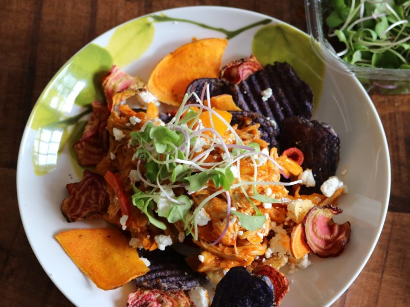 Easy BBQ Chicken Nachos with Root Vegetable Chips 5