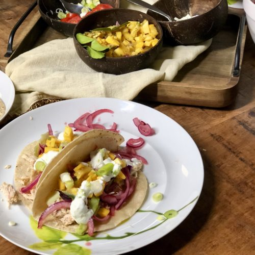 Thai Chicken Tacos with Beet Infused Pickled Onions 6