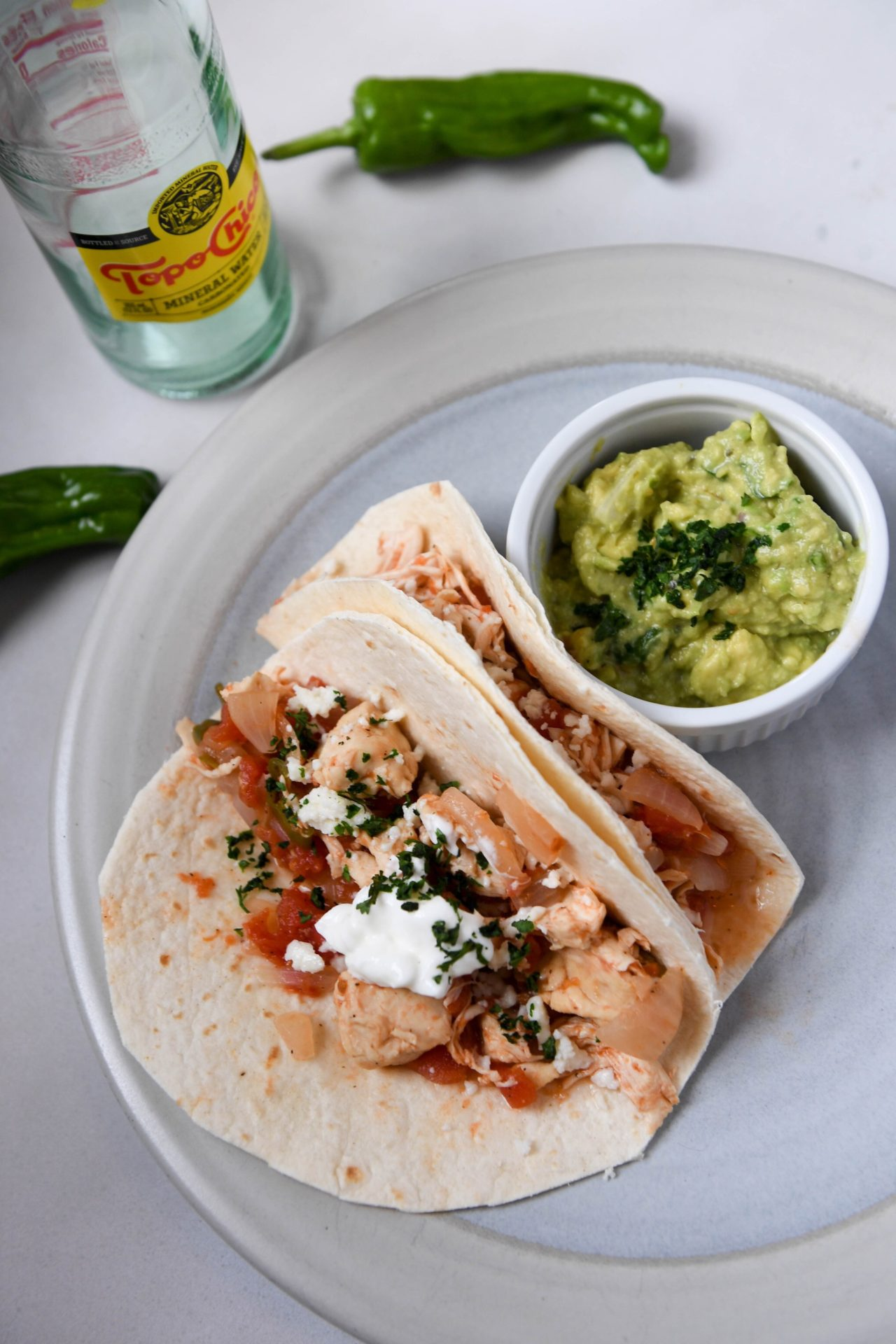 Spicy Chicken Tinga Tacos With Guacamole and Queso Fresco - Low Carb 3