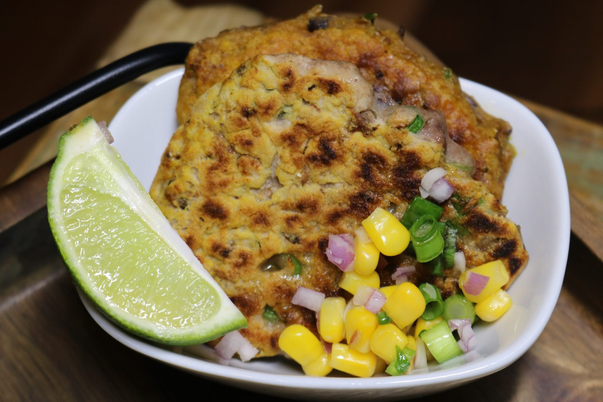 Black-Eyed Pea Fritters with Corn Salsa 1