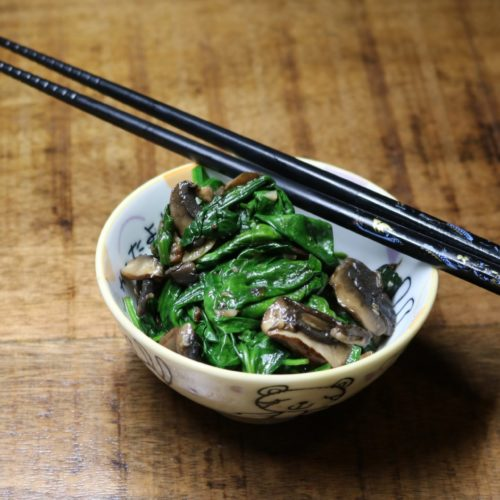 Garlicky Sautéed Spinach with Mushrooms 1