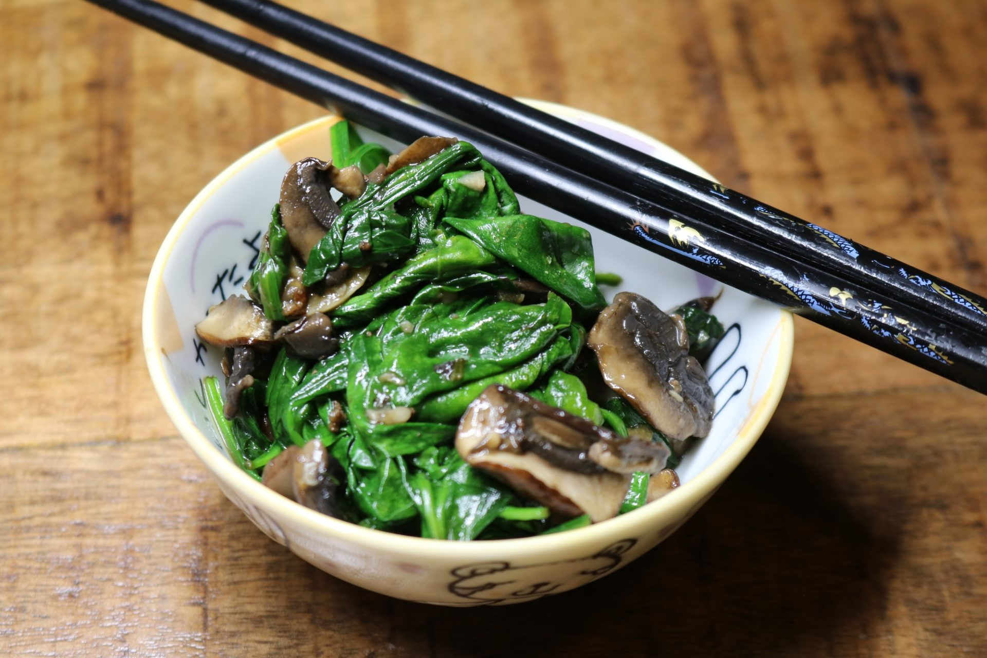 Garlicky Sautéed Spinach with Mushrooms 2