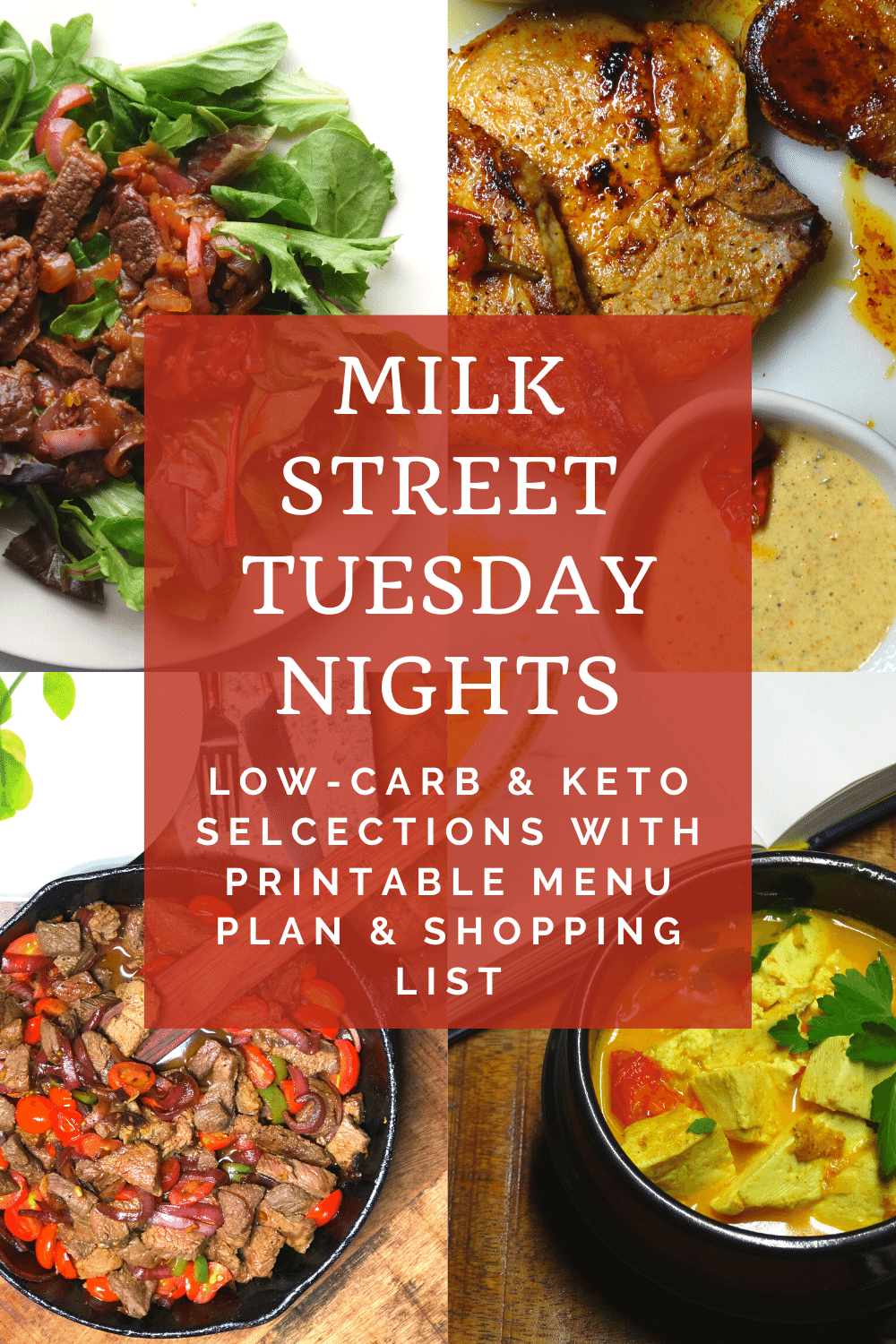 Milk Street Tuesday Nights Low-Carb or Keto Selections Menu Plan & Shopping List