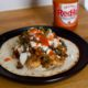 Smoky Chicken Tostados with Black Eyed Peas and Chile-Lime Salsa