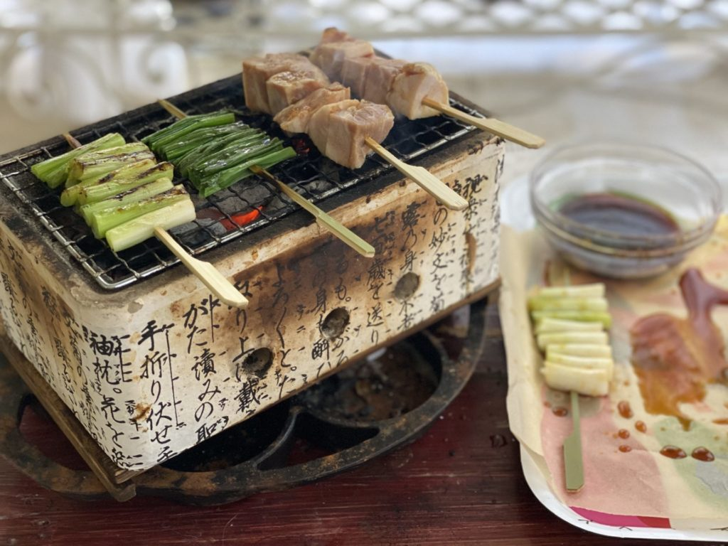 Yakitori Grill at Home for the Beginner  - Mini Yakitori Grill with food on Bamboo Skewer