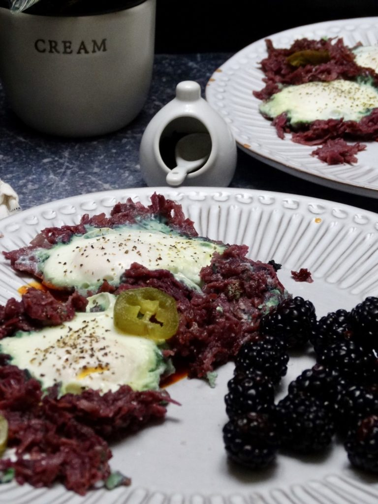 Eggs Nested in Hashed Purple Sweet Potatoes 1