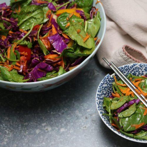 Organic Low-Carb Asian Rainbow Salad Recipe