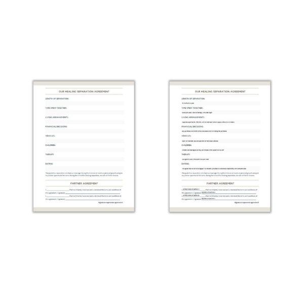 Healing Separation Agreement Editable Online Printable