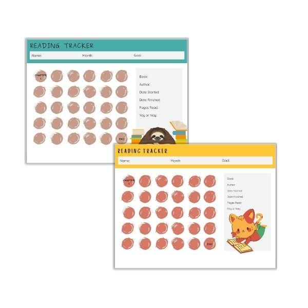 Reading Tracker Pack Kitten & Sloth 2