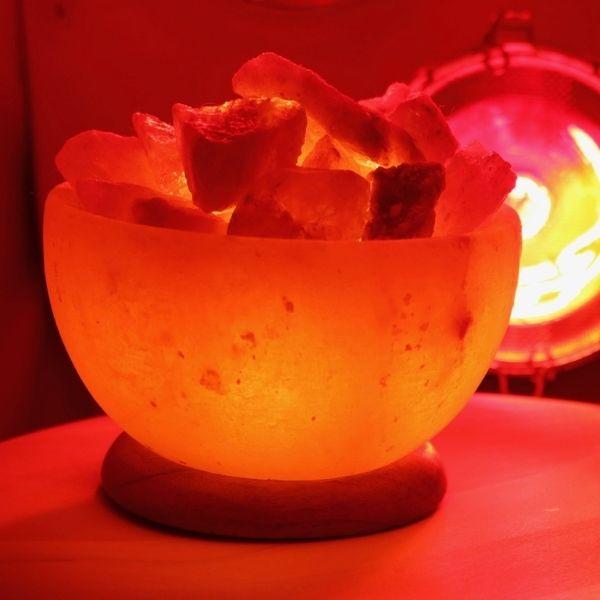 Serenity Bowl Salt Lamp inside Sauna