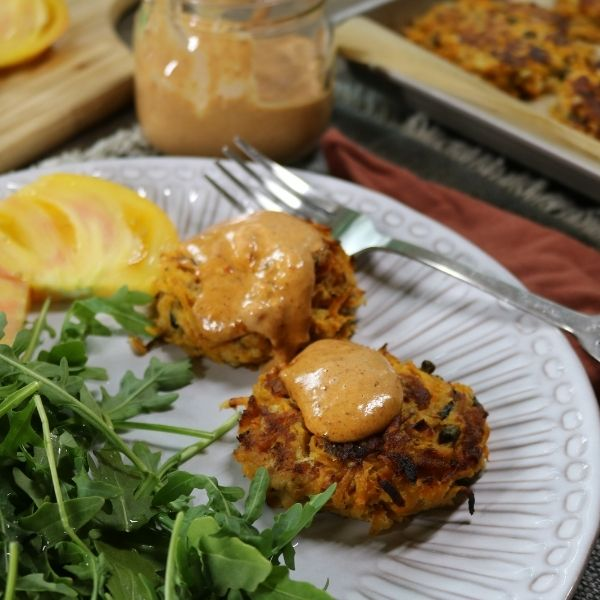 Salmon Cakes with Hashed Sweet Potatoes and Chipotle Mayo 2